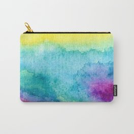 Modern neon yellow blue hand painted watercolor Carry-All Pouch