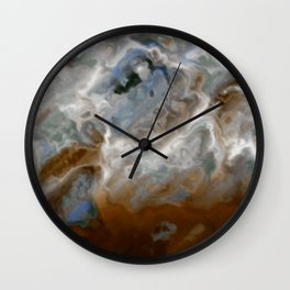 Tiger's Eye - red brown white silver gradient marble texture Wall Clock