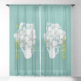 hello summer with yellow butterfly Sheer Curtain