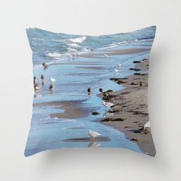 Birds by the sea Throw Pillow