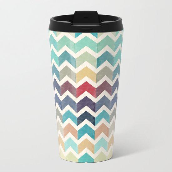 Watercolor Chevron Pattern Metal Travel Mug
