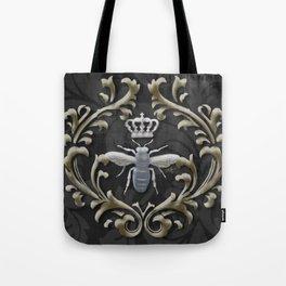Elegant Black & Gold Damask Bee Tote Bag