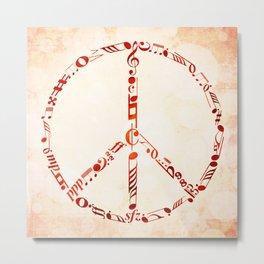 Watercolor music peace Metal Print