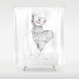 line drawing of a beautiful muse Shower Curtain