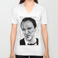 tarantino V-neck T-shirts featuring the great Tarantino by Mike Sarda