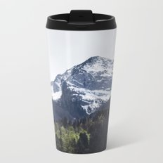 Winter and Spring - green trees and snowy mountains Metal Travel Mug