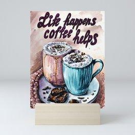 Coffee watercolor art Mini Art Print