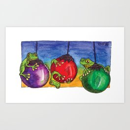 Christmas Frogs on Baubles Art Print