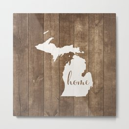 Michigan is Home - White on Wood Metal Print