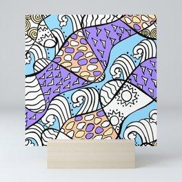 Doodle Art Drawing - Seagulls Rocks and Waves - Blue Purple Mini Art Print
