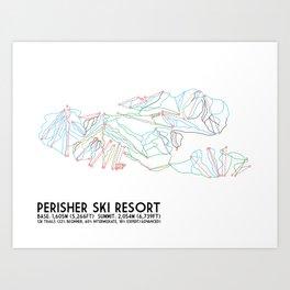 Perisher, NSW, Australia - Minimalist Trail Maps Art Print