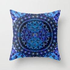 Blue Mosaic Mandala Throw Pillow