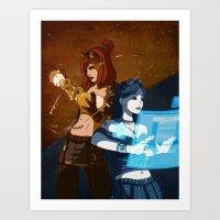 steam punk Art Prints featuring Steam/Cyber Punk by Waffle Guru