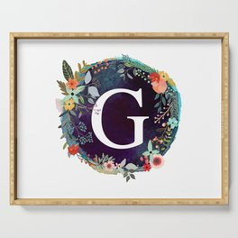 Personalized Monogram Initial Letter G Floral Wreath Artwork Serving Tray