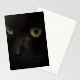 Black cat with yellow eyes Stationery Cards