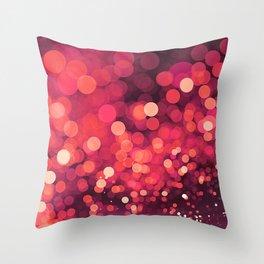 Red Glitter Wave Throw Pillow