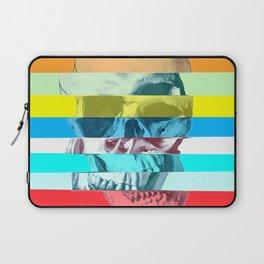 Striped Glitch Skull Laptop Sleeve
