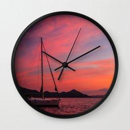 Sailing Boats Against a Purple Sky Wall Clock