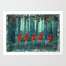 Five Little Red Riding Hoods 1 Art Print