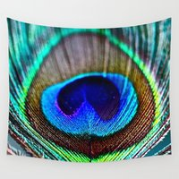 peacock feather Wall Tapestries featuring Peacock Feather by rapplatt