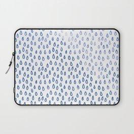 Blue Shimmer Raindrops Laptop Sleeve