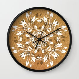 ELEGANT GOLD AND WHITE FLORAL MANDALA Wall Clock