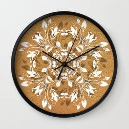 ELEGANT GOLD AND WHITE FLORAL MANDALA Wall Clock