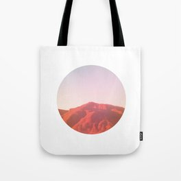 Mountain range photography in dark red, yellow and pink Tote Bag