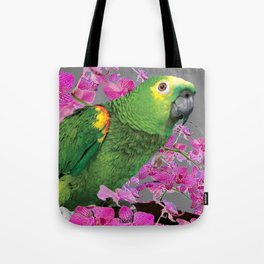 TROPICAL GREEN PARROT & FUCHSIA ORCHIDS  GREY ART Tote Bag