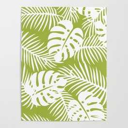 Olive Green Jungle Palm Leaves Pattern Poster