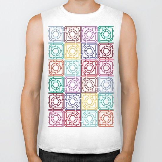 Maze Colorful Seamless Pattern Biker Tank