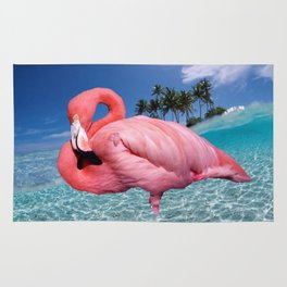 Flamingo and Palms Rug