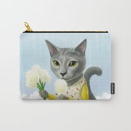 A cat sitting in the flower garden Carry-All Pouch