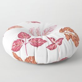 Vector pink autumn leaves in realistic style Floor Pillow