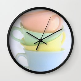 Pastel Tea Cup Stack Wall Clock