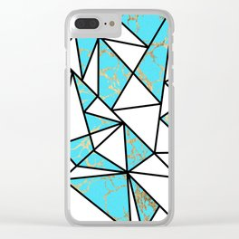 Modern faux gold aqua geometrical marble Clear iPhone Case