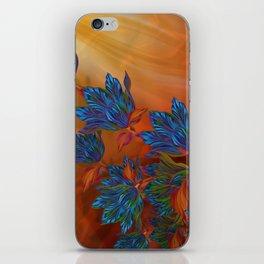 """Blue flowers on orange silk"" (Air Spring at night) iPhone Skin"
