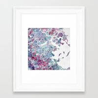 boston map Framed Art Prints featuring Boston map by MapMapMaps.Watercolors