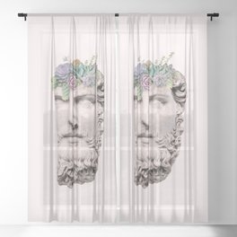 SUCCULENT HEAD Sheer Curtain