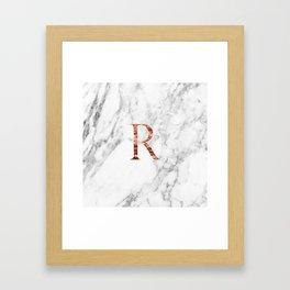 Monogram rose gold marble R Framed Art Print