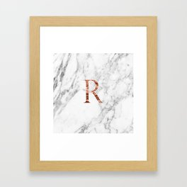 Monogram rose gold marble R Framed Art Print