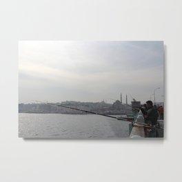 Fishing off the Galata Bridge Metal Print