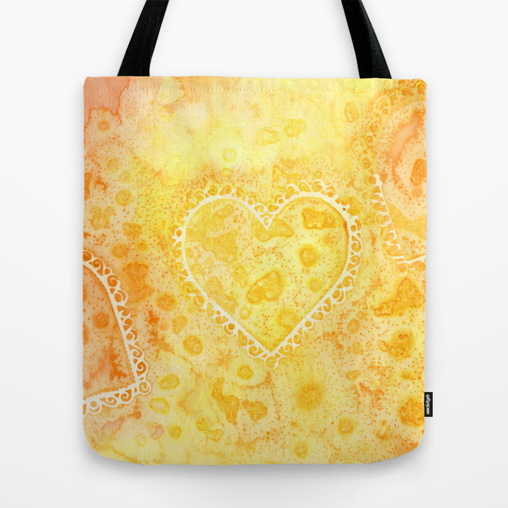 Yellow & Orange Lace Hearts Tote Purse by Fairychamber (TBG9823419) photo