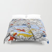 stockholm Duvet Covers featuring Stockholm mondrian by Mondrian Maps