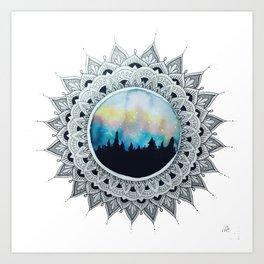 Double Exposure Mandala Art Print