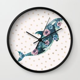 Whale Ocean Rose + Gold Polka Dot Wall Clock