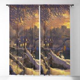 Idyllic Little Village In Winter Ultra HD Blackout Curtain