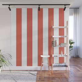 Jelly bean pink - solid color - white vertical lines pattern Wall Mural