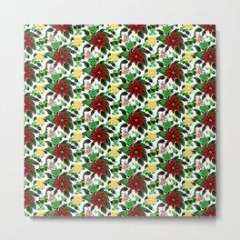 Poinsettia v2 pattern Metal Print