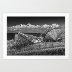 Two forlorn abandoned Boats on Prince Edward Island in Black and White Art Print
